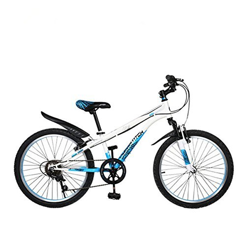 Cyfie ホーク 子供用自転車 全2サイズ 22インチ:6段変速 スタンド型;18インチ:変速なく 補助輪付き;前と後ろブレーキ付き 二つ泥よけ付き 軽量 高炭素鋼フレーム 簡単に安装 B01BUUSYTWブルー 22インチ