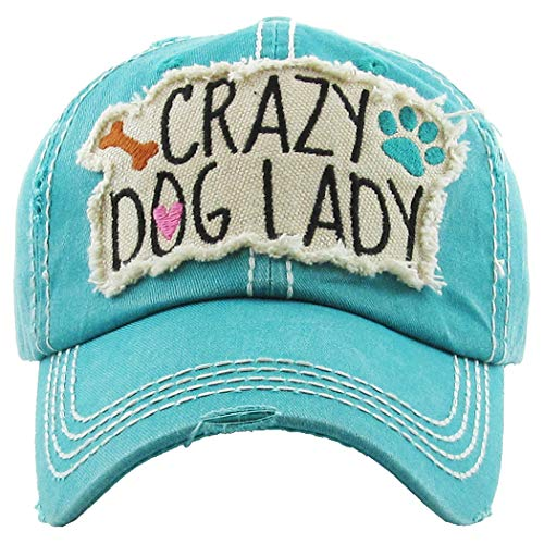 H-212-CDL46 Distressed Baseball Cap Vintage Dad Hat - Crazy Dog Lady (Teal)