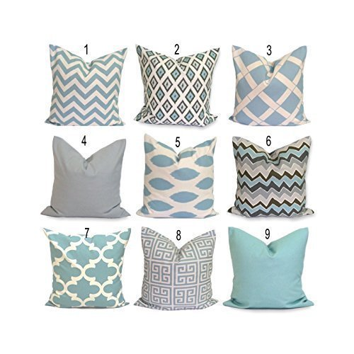 Amazoncom Robins Egg Blue Pillow Cover Throw Pillow Cover Blue