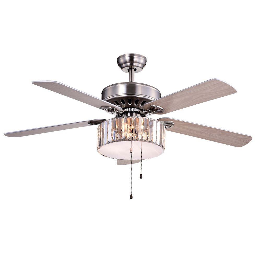 Warehouse of Tiffany CFL-8174SN Kimalex Wood Nickel Crystal Ceiling Fan by Warehouse of Tiffany