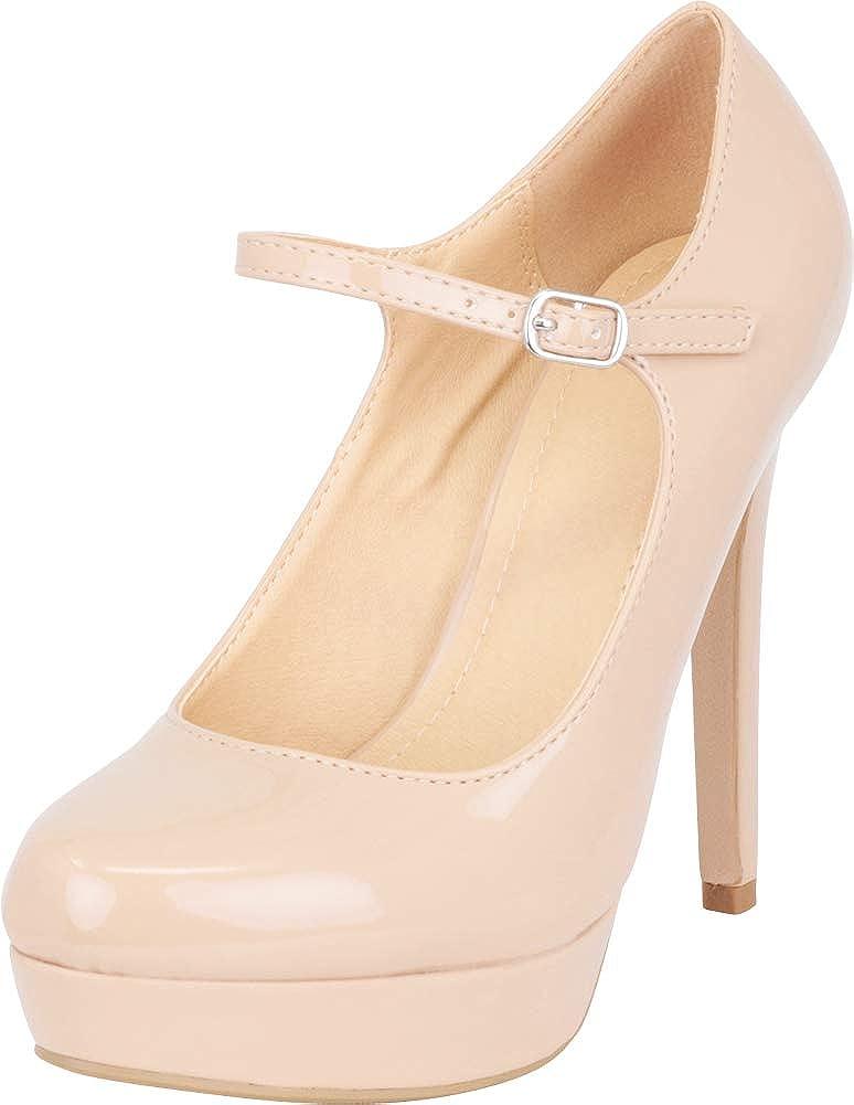 Dark Beige Patent Pu Cambridge Select Women's Mary Jane Platform High Heel Pump