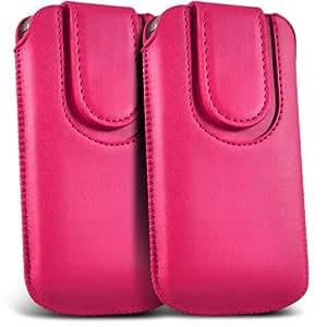 Samsung Galaxy Core Plus G3500 premium protección PU botón magnético ficha de extracción Slip In Pouch Pocket Cordón piel cubierta de la caja de liberación rápida (Twin Pack) Hot Pink por Spyrox