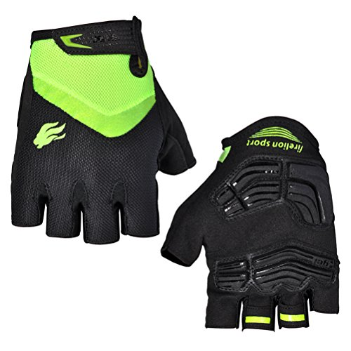 FIRELION Breathable Cycling Gloves (Half Finger) - Gel Pad Anti-Slip Shock-Absorbing MTB DH - Mountain Road Bike Bicycle Gloves -