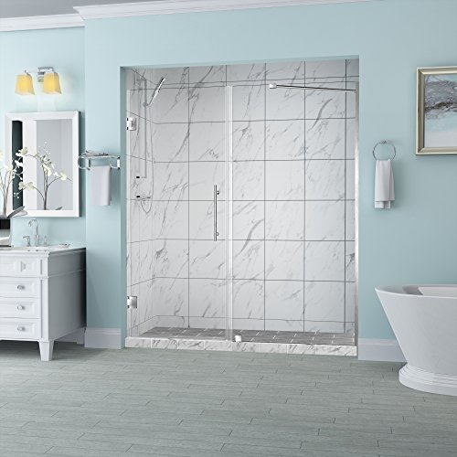 Alcove Shower Doors - Aston SDR965EZ-SS-5826-10 Belmore Frameless Hinged Alcove Shower Door with StarCast Clear Glass, 57.25