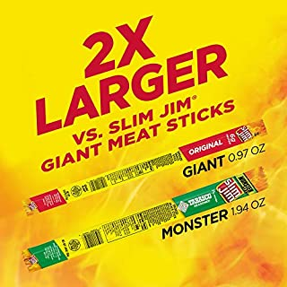 Slim Jim Monster Smoked Meat Sticks, Tabasco, Packed with Protein, 1.94 Oz. Sticks, 18 Count