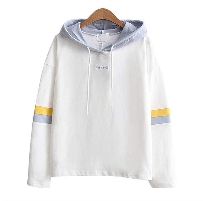 Mujer Hoodie Otoño Elegante Sudaderas con Capucha Manga Larga Anchos Patchwork Sweatshirts con Cordón Lindo Chic