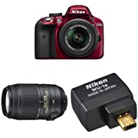 Nikon D3300 DX-Format DSLR Camera (Red) with 18-55mm + 55-300mm Lenses Wi-Fi Bundle
