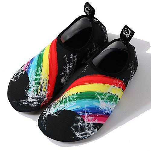 Quick Slip Swimming Shoes Boating Drying Yoga Water Womens Sports Snorkeling Kids Shoes Beach Aqua Shoes Park Shoes Walking On Mens Socks Skin Barefoot Rainbow BIGU Aqgw4zPFw