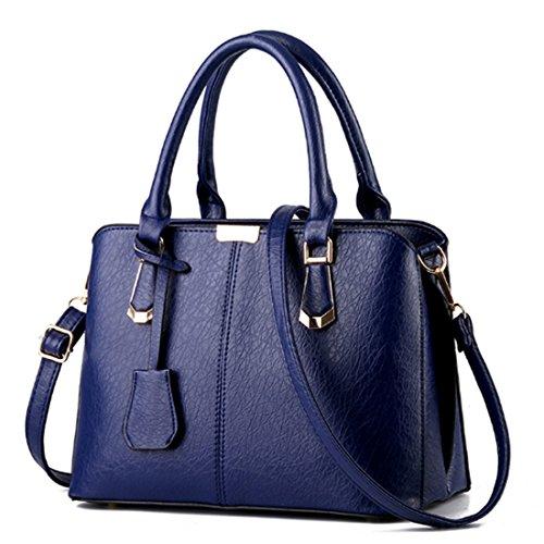 PU Tote Leather Bags Dark Handle Top Blue Shoulder Women Handbags FOLLOWUS YgwnFqx44E