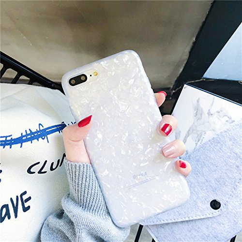 iPhone 7 Case, iPhone 8 Case, GIZEE Glitter Pearly-lustre Translucent Flexible Soft Slim Fit Full Protective Shell Pattern Phone Case for Girls for iPhone 7 iPhone 8 4.7 Inch (White) ()