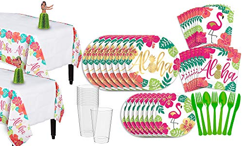 Party City You Had Me At Aloha Party Pack for 16 Guests, 158 Pieces, Includes Plates, Napkins, Cups, and Centerpieces