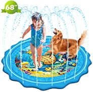 "Mademax Upgraded 68"" Sprinkle & Splash Play Mat, Inflatable Summer Outdoor Party Sprinkler Pad Water"