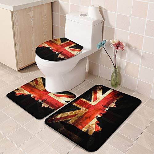 Bath Rug 3 Piece Bathroom Rugs Set, 16 x 18 U-Shape Contoured Toilet Mat & 20 X 31 Rug & 1 Lid Cover, Non-Slip Floor Rug for Tub Shower - London England Landscape with British Flag