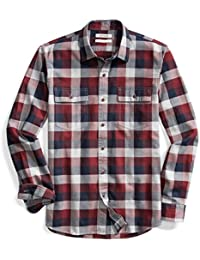 Men's Slim-Fit Long-Sleeve Plaid Herringbone Shirt