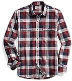 Goodthreads Men's Slim-Fit Long-Sleeve Plaid Herringbone Shirt, Navy Eclipse, X-Small