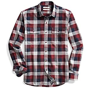Amazon Brand - Goodthreads Men's Slim-Fit Long-Sleeve Plaid Herringbone Shirt 21
