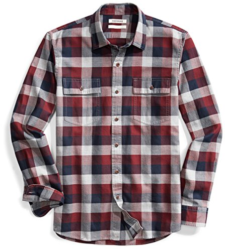 Goodthreads Men's Slim-Fit Long-Sleeve Plaid Herringbone Shirt, Navy Eclipse, X-Large ()