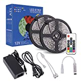 RC LED Strip Lights 32.8ft Waterproof Flexible SMD5050 300LEDs with 17Key RF Remote 12V Power Adapter for Home and Outdoor