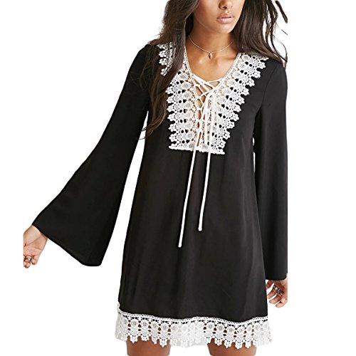 GotFeelin de de Gasa de Tirantes Floja Falda Manga Campana Vestido Black Color Vestido S tamaño Encaje de de de q58Fqxnr