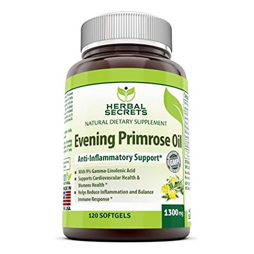 Herbal Secrets Evening Primrose Oil Supplement 1300 Mg 120 Softgels (Non-GMO) - High Potency- Contain 9% Gamma Linoleic - Anti-inflammatory Support, Supports Cardiovascular Health, Immune -