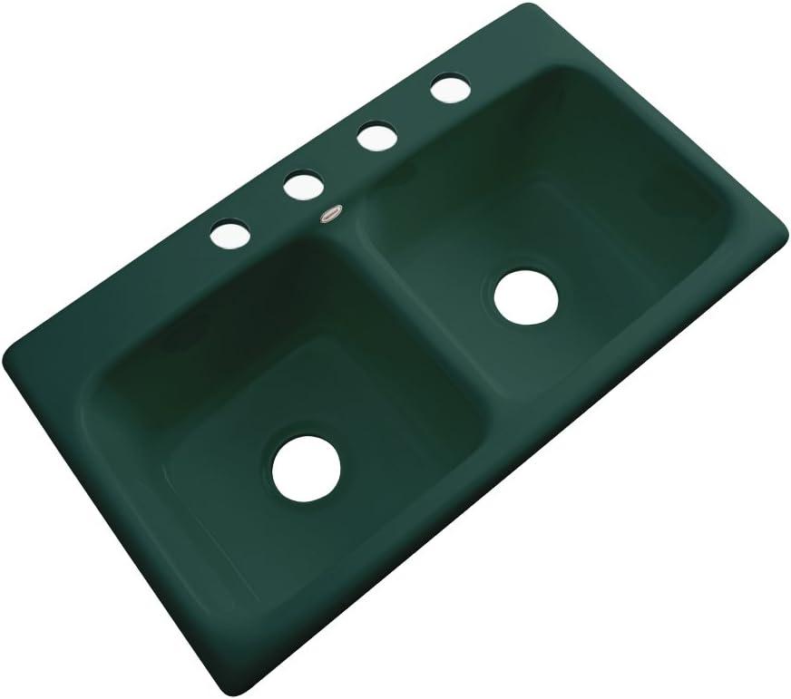 Dekor Sinks 64443 Englewood Cast Acrylic Double Bowl Kitchen Sink-4 Hole, 33