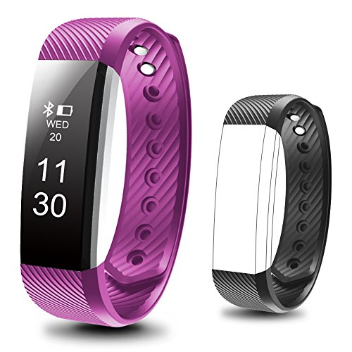 Waterproof Fitness Tracker, Besyoyo Smart Bracelet with Sleep Monitor, Sports Activity Tracker Pedometer Calories Counter Smart Watch for Kids Women Men, with Replacement Band for IOS & Android - Fitness Digital Watch