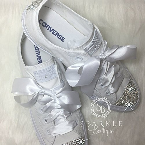 Wedding Shoe For Bride Swarovski Wedding Shoes Custom Glitter Sparkle All Stars with Crystals for the Bride - Quinceañera - Prom Shoes By SparkleBoutique2U