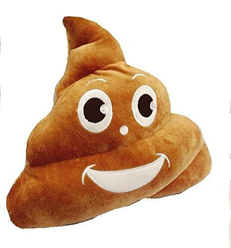 Emoji 32cm Silly Smiley Pillows Emoticon Brown Round Cushion