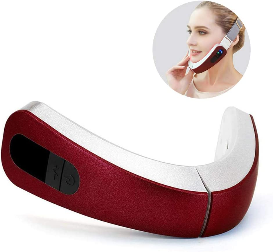 SHIYN Electric Facial Massage, Facial Lifting Slimming, V-Line Chin Cheek Lift Up Band for Women, Double Chin Care Weight Loss with 4 Massage Modes,Red
