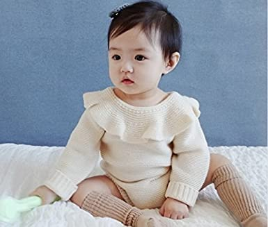 6da5a2e0b46 Amazon.com  GObabyGO Baby Girls Sweet Knitted Fleece Romper Long Sleeve  Ruffle Jumpsuit Sweater Dress (White