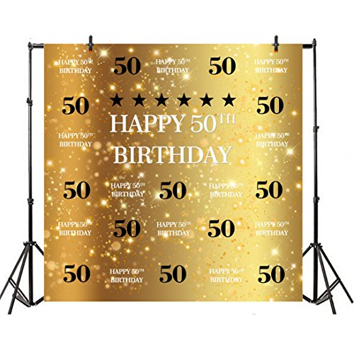 Leyiyi 7x7ft Photography Background Happy 50th Birthday Backdrop Glittering Crown Luxry Party Invitation Aged Old Person Sparkle Stars Bokeh Banner Ribbon Photo Portrait Vinyl Studio Video Prop ()