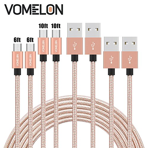 Micro USB Cable, 4Pack [2x6FT+2x10FT] Nylon Braided Tangle-Free Micro USB Fast Charging Cable for Samsung Galaxy S6, Huawei , LG, HTC, Sony, Android Phones and Tablets, Kindle -Golden+Silver by VOMELON