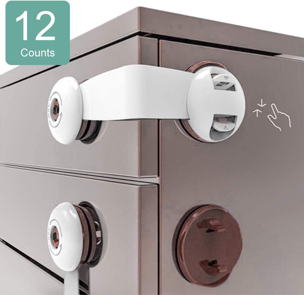 Cabinet Locks Child Safety, No Drill Baby Proof Drawer Latches, 12Pcs Adhesive Childproof Toddlers Proofing Lock For Dresser, Fridge, Refrigerator, Freezer, Closet, Trash, Cupboard