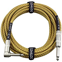 GLS Audio 20 Foot Guitar Instrument Cable - Right Angle 1/4 Inch TS to Straight 1/4 Inch TS 20 FT Brown Yellow Tweed Cloth Jacket - 20 Feet Pro Cord 20\' Phono 6.3mm - SINGLE