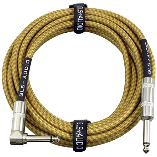 GLS Audio 20 Foot Guitar Instrument Cable - Right Angle 1/4 Inch TS to Straight 1/4 Inch TS 20 FT Brown Yellow Tweed Cloth Jacket - 20 Feet Pro Cord 20' Phono 6.3mm - SINGLE ()