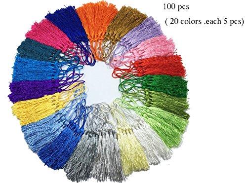 (100 pcs of Prayer Beads Mini Tassels Charms Long Loop Silk Tassels Pendant,Handmade Tassels, Jewelry Tassels,Tassel Pendant, Adornments,Solid Binding Tassels Charm Handmade Tassels for DIY Crafts)
