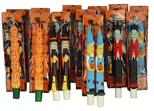 CC Christmas Decor Pack of 144 Halloween Witch, Scarecrow, Pumpkin and Frankenstein Taper Candles ()