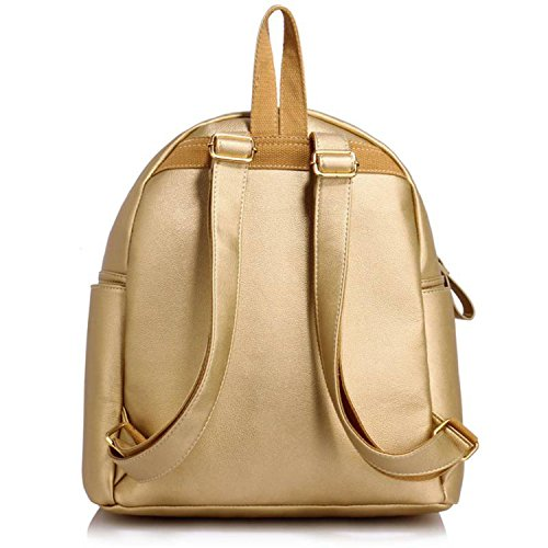 Xardi London, Borsa a zainetto donna medium Gold Faux Leather