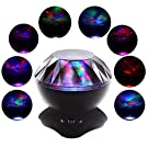 SCOPOW Night Light Lamp Aurora Projector and Speaker Colorful Decorator Cycling Mood Light Atmosphere Projector for Baby Children Teen Child Christmas Nursery Bedroom (Black)