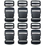 "6 Set 1.5"" Flat Heavy Duty Buckles Dual Adjustable Buckles and Tri-Glide Slides Quick Side Release Buckle for Luggage Straps Pet Collar Backpack Repairing (Black)"