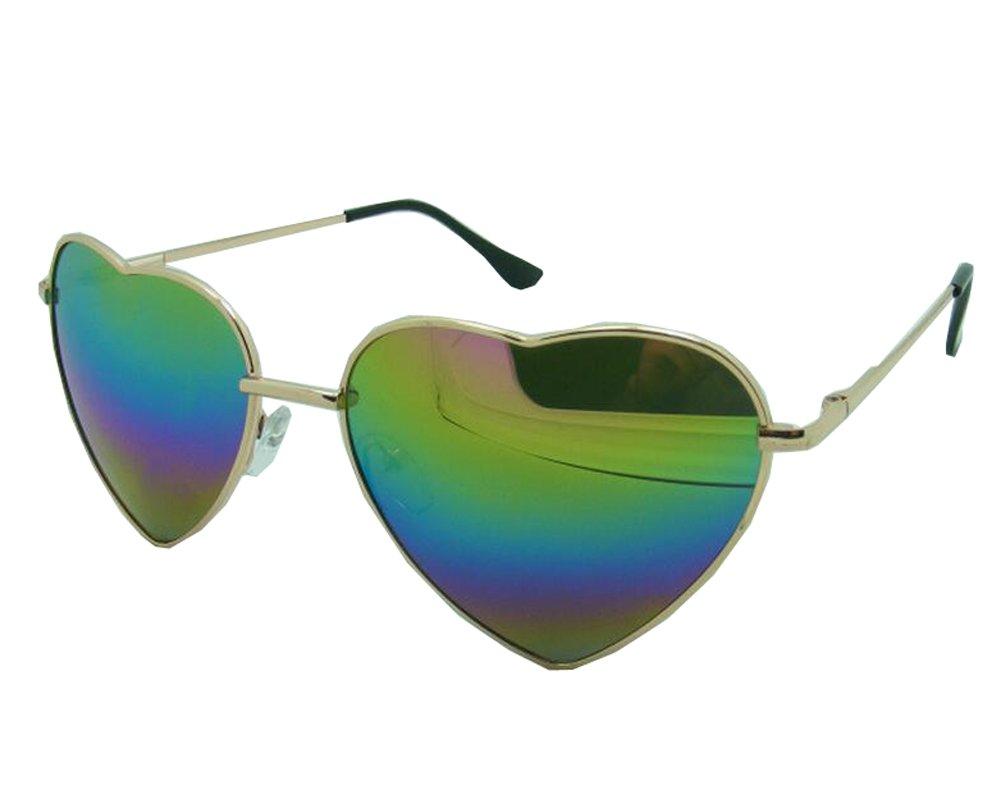 Genluna Vintage Metal Love Heart Shaped Sunglasses Free Gold-Colorful