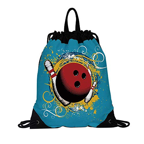 Bowling Party Decorations Canvas Drawstring Bag,Fun Hobby Retro Ball Floral Swirls Color Splashes Pop Art for Travel School,7.4