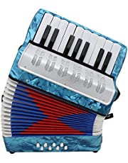 Mini Small 17-Key 8 Bass Accordion Educational Musical Instrument Toy for Kids Children Amateur Beginner Christmas Gift
