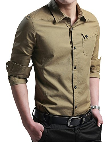 - XTAPAN Men's Casual Button Down Shirt Solid Classic Slim Fit Shirt Khaki 2XL