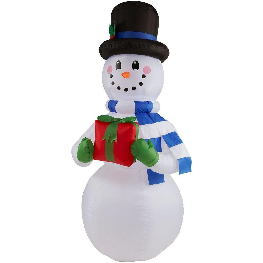 Amazon.com: 6.5 ft. H Inflatable Snowman with Present: Garden & Outdoor