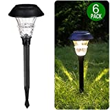 Brightown 6 Pack Solar Path Light Outdoor with Glass Lens, 10 High Lumens, LED Landscape Lighting for Yard, Driveway, Pathway, Patio, Lawn, Garden, Walkway, Natural White