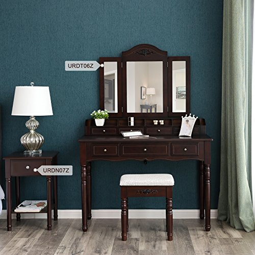 SONGMICS 7 Drawers Vanity Table Set, Tri-folding Necklace Hooked Mirror, 6 Organizers Makeup Dressing Table with Cushioned Stool Easy Assembly, Gift for Mother's Day Brown URDT06Z - bedroomdesign.us