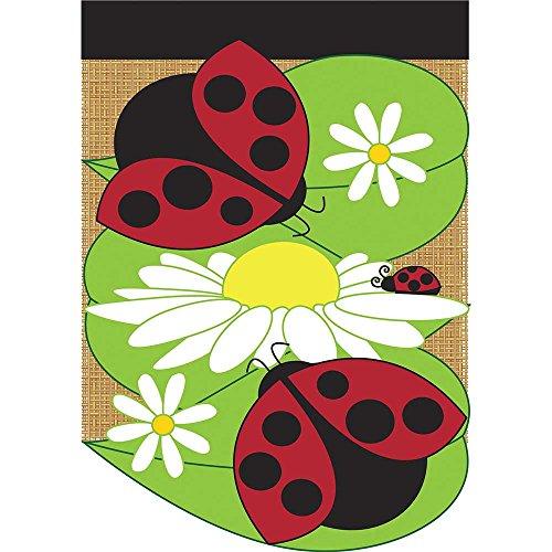 Ladybug Bloomers - Ladybug Friends and Daisies 42 x 29 Round Bottom Burlap Double Applique Large House Flag
