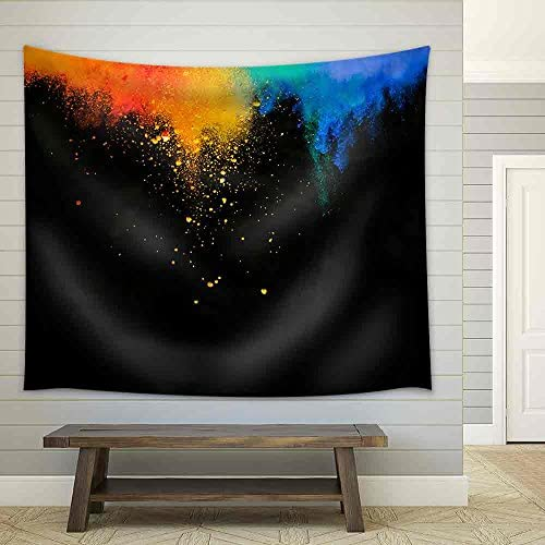 Colorful Red Yellow and Blue Powder Flying in The Air Fabric Wall