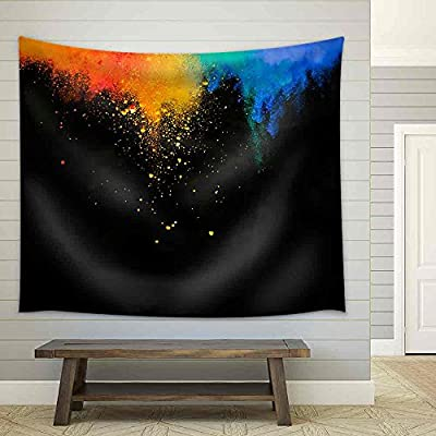 Classic Artwork, Astonishing Piece of Art, Colorful Red Yellow and Blue Powder Flying in The Air Fabric Wall